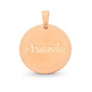 "Stainless steel charms round 15mm ""friends"" Mix&Match Rose Gold"