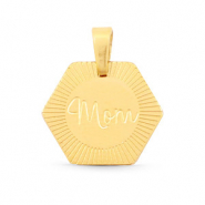 "Stainless steel charms Hexagon ""mom"" Mix&Match Gold"