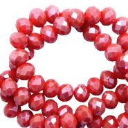 Top faceted beads 4x3mm disc Dark Rouge Red-Half Pearl High Shine Coating