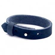 Cuoio bracelets nubuck leather 15 mm for 20 mm cabochon Indigo Blue