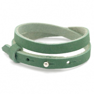 Cuoio bracelet nubuck leather 8 mm double for 12 mm cabochon Sea Green