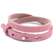 Cuoio bracelet nubuck leather 8 mm double for 12 mm cabochon Pressed Rose Red