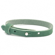 Cuoio bracelet nubuck leather 8 mm for 12 mm cabochon Sea Green