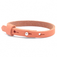 Cuoio bracelet nubuck leather 8 mm for 12 mm cabochon Living Coral Red