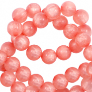 Polaris beads round 6 mm pearl shine Burnt Coral Pink