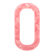 Resin pendants oblong oval 56x30mm Living Coral Pink