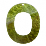 Resin pendants oval 48x40mm Olive Green