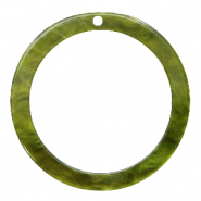Resin pendants round 35mm Olive Green