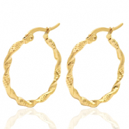 Stainless steel earrings creole 25mm twist Gold