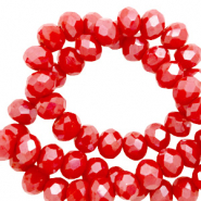 Top faceted beads 8x6mm disc Rouge Red-Top Shine Coating
