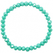 Top faceted bracelets 6x4mm Turquoise Green-Pearl Shine Coating