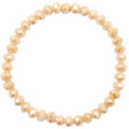 Top faceted bracelets 6x4mm Semolina Beige-Pearl Shine Coating