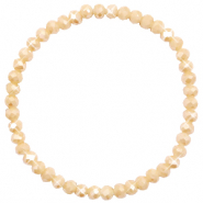 Top faceted bracelets 4x3mm Semolina Beige-Pearl Shine Coating