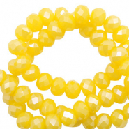 Top faceted beads 6x4mm disc Freesia Yellow Opal-Pearl Shine Coating
