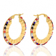 Stainless steel earrings creole 30mm colour strass Gold