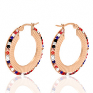 Stainless steel earrings creole 30mm colour strass Rose Gold