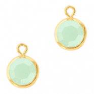 DQ Crystal glass charms round 6mm Gold-Powder Opal Green
