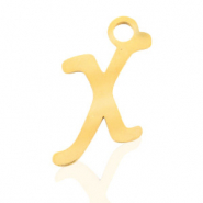 Stainless steel charms initial X Gold