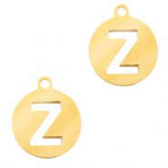 Stainless steel charms round 10mm initial coin Z Gold