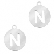 Stainless steel charms round 10mm initial coin N Silver
