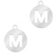 Stainless steel charms round 10mm initial coin M Silver