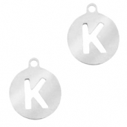 Stainless steel charms round 10mm initial coin K Silver