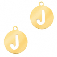 Stainless steel charms round 10mm initial coin J Gold