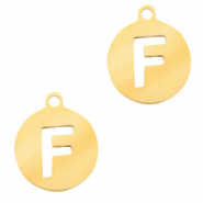 Stainless steel charms round 10mm initial coin F Gold