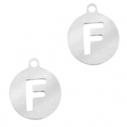 Stainless steel charms round 10mm initial coin F Silver