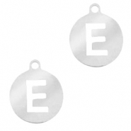 Stainless steel charms round 10mm initial coin E Silver