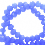 Top faceted beads 8x6mm disc Provence Blue-Pearl Shine Coating