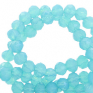 Top faceted beads 4x3mm disc Turquoise Blue-Pearl Shine Coating