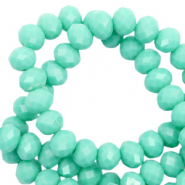 Top faceted beads 6x4mm disc Spearmint Green-Pearl Shine Coating