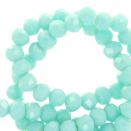 Top faceted beads 4x3mm disc Bleached Aqua Turquoise-Pearl Shine Coating