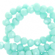 Top faceted beads 3x2mm disc Bleached Aqua Turquoise-Pearl Shine Coating