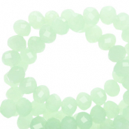 Top faceted beads 8x6mm disc Light Green Opal-Pearl Shine Coating