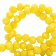 Top faceted beads 8x6mm disc Vibrant Yellow-Pearl Shine Coating