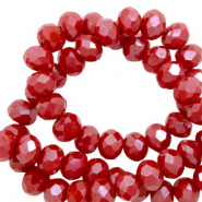 Top faceted beads 6x4mm disc Dark Haute Red-Full Pearl Shine Coating