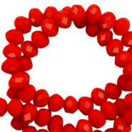 Top faceted beads 4x3mm disc Flame Scarlet Red-Pearl Shine Coating