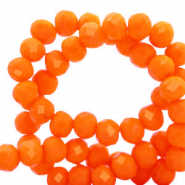 Top faceted beads 4x3mm disc Emberglow Orange-Pearl Shine Coating