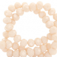Top faceted beads 6x4mm disc Peach Beige-Pearl Shine Coating