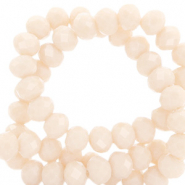 Top faceted beads 4x3mm disc Light Peach Beige-Pearl Shine Coating