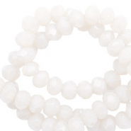 Top faceted beads 6x4mm disc Soft White-Pearl Shine Coating
