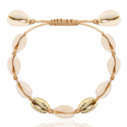 Anklets Cowrie Beige Brown-Gold