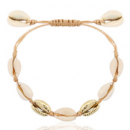 Ready-made Bracelets Cowrie Beige Brown-Gold