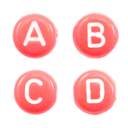 Acrylic letter beads mix Coral Pink
