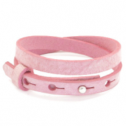 Cuoio bracelets leather 8mm double for 12mm cabochon Pressed Rose