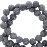 4 mm natural stone beads round mountain jade matt Anthracite Grey