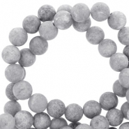 6 mm natural stone beads round mountain jade matt Grey