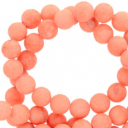 4 mm natural stone beads round mountain jade matt Living Coral Red